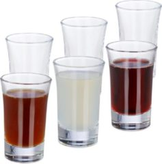 Transparante Relaxdays shotglazen - borrelglaasjes - set van 6 - 4 cl - glas - likeur - carnaval
