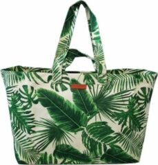 Fana Bags Big Shopper Palm Groen - Grote Weekendtas/Reistas/Strandtas - Shopper - Lichtgewicht - Grote Tas - Vrolijke Print - Palm Bladeren