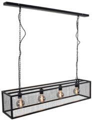 Urban Interiors - Frame Gaas 4-lichts - Hanglamp - 120x25 - Metaal - Zwart - Industrieel