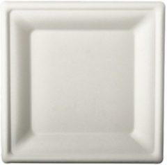 Pure - Disposable Tableware 24x Witte suikerriet lunchbordjes 20 cm biologisch afbreekbaar - Vierkante wegwerp bordjes - Pure tableware - Duurzame materialen - Milieuvriendelijke wegwerpservies borden - Ecologisch verantwoord