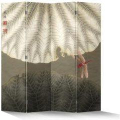 Beige Fine Asianliving Chinees Kamerscherm 4 Panelen Lotusblad Rode Libelle