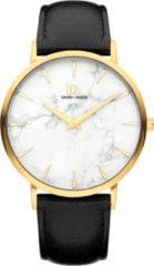 Gouden Danish Design watches unisexhorloge Shanghai Gold White Marble Black Large IQ51Q1217