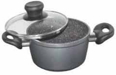 Pan met glazen deksel Stoneline grijs/zwart