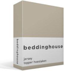 Gele Beddinghouse Jersey Topper Hoeslaken - 100% Gebreide Jersey Katoen - Lits-jumeaux (180x200/220 Cm) - Sand