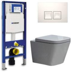 Douche Concurrent Geberit UP 100 Toiletset - Inbouw WC Hangtoilet Wandcloset - Alexandria Delta 50 Wit