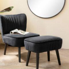 LIFA LIVING Modern Voetenbankje, Zwarte Poef, Velvet en Houten Hocker, Vintage Kruk, Fluwelen Voetensteun voor Woonkamer, Slaapkamer, 35 x 53 x 38 cm