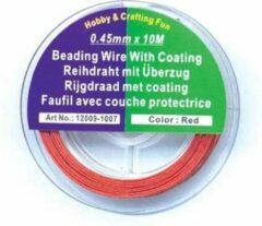 Hobby & Crafting Fun Rijgdraad met Coating - rood - 0,45mm x 10meter