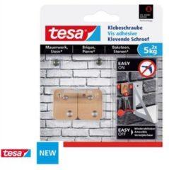 Tesa Klevende Schroef Rechthoekig voor Baksteen en Natuursteen , draagvermogen 5 kg, blister van 2 stuks