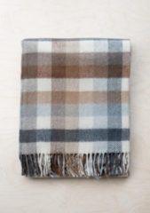 TBCo Prachtig Picknickkleed NU met Taupe kleurige leren draagset   Neutral Check   Duurzaam wol met waterdichte laag   From Scotland