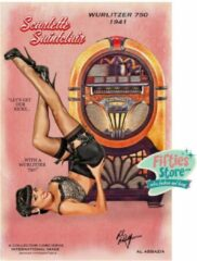 Roze Bennies Fifties Wurlitzer 750 Jukebox Pin-Up Scarlette Saintclair Zwaar Metalen Bord 92 x 61 cm