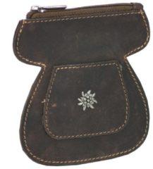 Vintage Edelweiß Oktoberfest Dirndl-Gürteltasche Leder 10,5 cm Greenburry dunkelbraun