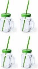 Bellatio Design 6x stuks Glazen Mason Jar drinkbekers groene dop en rietje 500 ml - afsluitbaar/niet lekken/fruit shakes