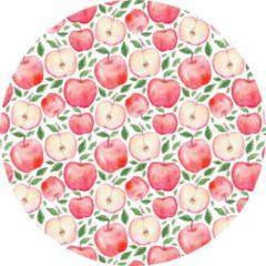 Rode MatStyles Rond Vloerkleed Tapijt Mat Appels - Wasbaar - Antislip - 115 x 115 cm