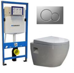 Douche Concurrent Geberit UP 320 Toiletset - Inbouw WC Hangtoilet Wandcloset - Daley Sigma-01 Mat Chroom