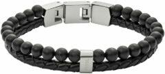 Zwarte Fossil Armband Mens Vintage Casual van half edelsteen en roestvrijstaal JF02763040
