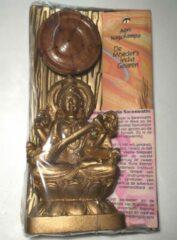 Cadeauverpakking beeldje Godin Sarawati + teakhouten wierookhouder lotus + korte stokjes De Moeder's India Geuren Agni Nagchampa