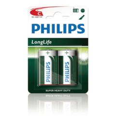Groene Philips batterij R14 longlife 1.5V per 2 stuks