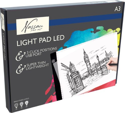 Afbeelding van Witte Ultradun A3 Ledbord/ Nassau Fine ArtLightpad / LED licht Lichtbak / Tekentafel / Lichttafel / Lichtbox / Lightbox met 3 dimbare lichtstanden o.a. voor Diamond Painting, Fotografie, Tekenen, Tattoo etc. Met Maatvoering