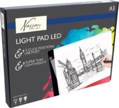 Witte Ultradun A3 Ledbord/ Nassau Fine ArtLightpad / LED licht Lichtbak / Tekentafel / Lichttafel / Lichtbox / Lightbox met 3 dimbare lichtstanden o.a. voor Diamond Painting, Fotografie, Tekenen, Tattoo etc. Met Maatvoering