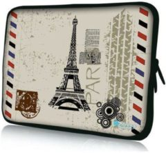 Beige Sleevy 17,3 inch laptophoes Eiffeltoren - Laptop sleeve - Macbook hoes - beschermhoes