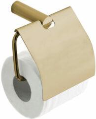 Mueller Gold toiletrolhouder met klep geborsteld messing