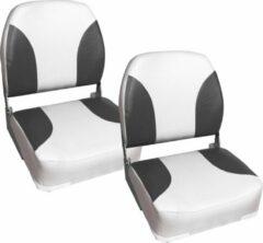 [pro.tec]® Bootstoel - klapstoel - 2 stuks set - wit en grijs