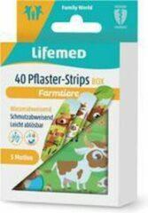 Witte Lifemed kindergipsstrips 'Boerderijdieren', 40-delig metalen doosje