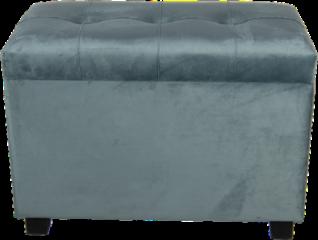 Groene Clayre & Eef Clayre & Eef - hocker/opbergkist 60*36*43 cm - turquoise - hout / textiel - rechthoekig - 64061LT