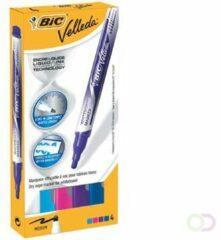 Pak met 4 uitwisbare markers Bic Velleda fun kleuren vloeibare inkt medium kegelpunt 2,2 mm