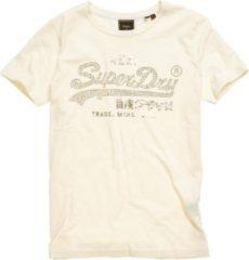Creme witte Superdry Vintage Logo Luster Dames T-shirt - Maat XS
