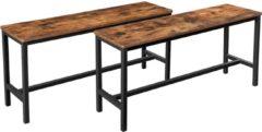 Donkerbruine Vasagle Hoppa! banken voor eettafel, set van 2, keukenbanken, eettafelbanken, 108 x 32,5 x 50 cm, keuken, eetkamer, stevig ijzeren frame, industrieel ontwerp, vintage bruin-zwart