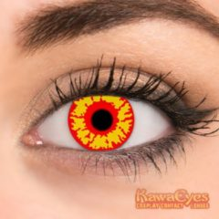 KawaEyes Zombie partylenzen carnaval carnavalskleding- incl. lenzendoosje - kleurlenzen - crazy lenzen - jaarlenzen - geel rood - feest - Halloween