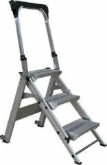 Zilveren AL Ladder,Werkbordes 3 treden met beugel, Veiligheidsvouwtrap