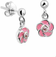 Roze The Kids Jewelry Collection Oorhangers Bloem Zirkonia - Zilver