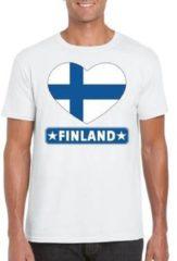 Shoppartners Finland t-shirt met Finse vlag in hart wit heren L