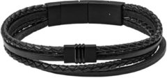 Zwarte FOSSIL Multi Strand black leather bracelet JF03098001