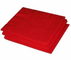 20x Rode kleuren thema servetten 33 x 33 cm - Rode papieren wegwerp tafeldecoraties