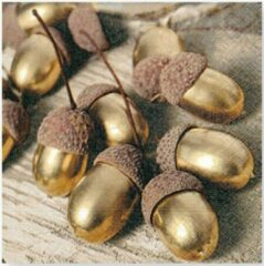 Beige Paper Design Paper+Design - lunch servetten 33x33cm - Golden Acorns - 20 stuks