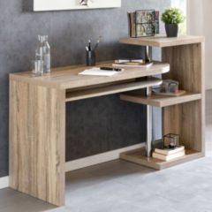Wohnling Schreibtisch LARRY 145x50x94 cm Bürotisch mit Regal Sonoma Winkelschreibtisch Schwenkbar Massiv Computertisch mit Ablage Chefschreibtisch