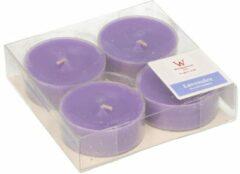 Trend Candles 4x Maxi geurtheelichtjes lavendel/paars 9 branduren - Geurkaarsen lavendelgeur - Grote waxinelichtjes
