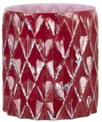 Clayre & Eef Glazen Theelichthouder 6GL3207 Ø 11*10 cm Rood Glas Rond Waxinelichthouder Windlichthouder