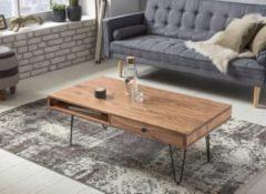 Wohnling Couchtisch BAGLI Massiv-Holz Akazie 117 cm breit Wohnzimmer-Tisch Design Metallbeine Landhaus-Stil Beistelltisch