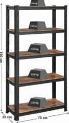 Songmics Boekenplank, opbergrek, 5 planken, keukenplank, plank, 150 x 75 x 30 cm, tot 650 kg draagvermogen, verstelbare planken, industriële stijl, zwart-vinachtig bruin GLR030B01