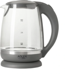 Adler AD 1286 Kettle, Electric, Power 2200W, Capacity 2 L, Glass, Grey