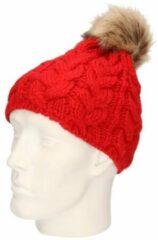 Beechfield Gebreide kabel wintermuts rood met pompon voor dames