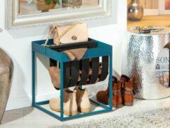 Hioshop Cute salontafel met tijdschriftenhouder zwart en petrol.