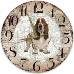 Bruine Creatief Art Houten Klok - 30cm - Hond - Basset Hound