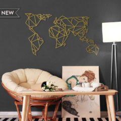 Metalen Wereldkaart Goud - Metal World Map Gold - Hoagard Wall Deco | Muurdecoratie | Fantastisch Cadeau Idee Voor Reizigers | Perfect Gift for Travel Lovers