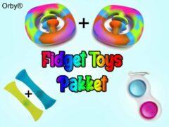 Lichtblauwe Orby® Fidget Toys Pakket 5-delig - 2x Snapperz - 1x Simple Dimple - 2x Mesh Marble - Fidget Toys Pakket onder de 15 euro - Fidget Toys Simple Dimple - Fidget toys box/set - Tiktok
