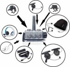Grijze Bb-Talkin.eu BbTalkin lange afstand ipx7 waterdichte intercoms met witte stereo set en mono oorschelp met speaker en microfoon